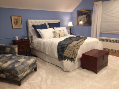 French Blue and White Bedroom