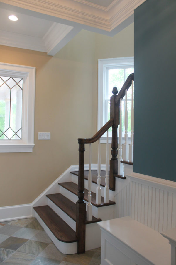 Teal Gray Accent Color in Gold Beige Hallway