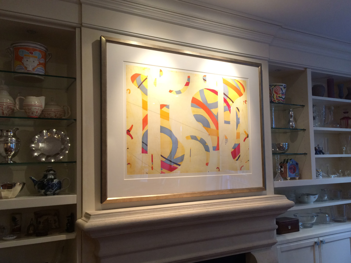 Large Art Piece Over Fireplace