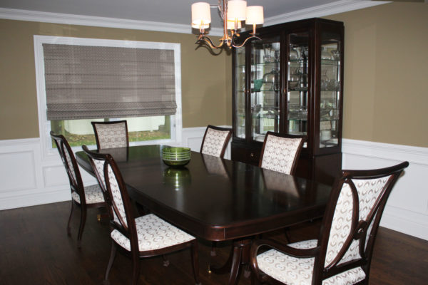 Paint Tan Walls with White Trim in Dining Room