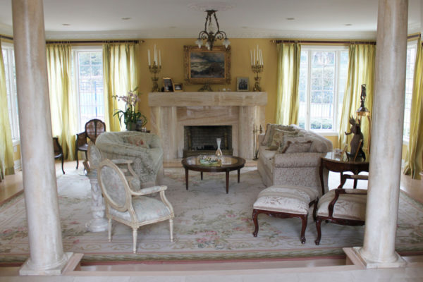 Faux Marble Columns in Formal Living Room