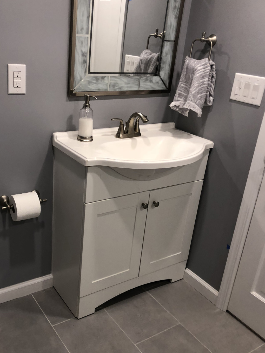 Gray Bathroom in Basement