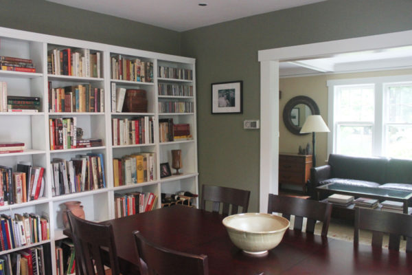 Green Walls and White Trim in Dining Room