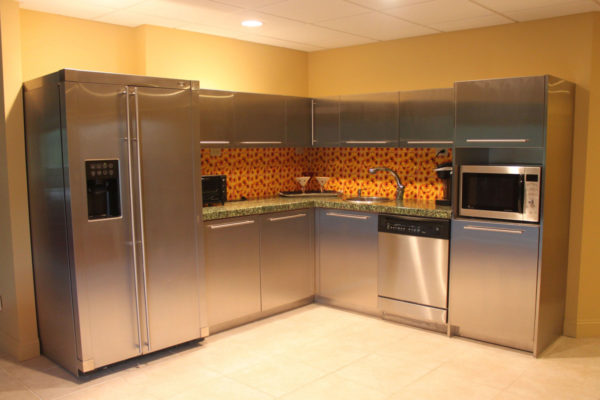 Bright Yellow Walls in Basement Kitchen