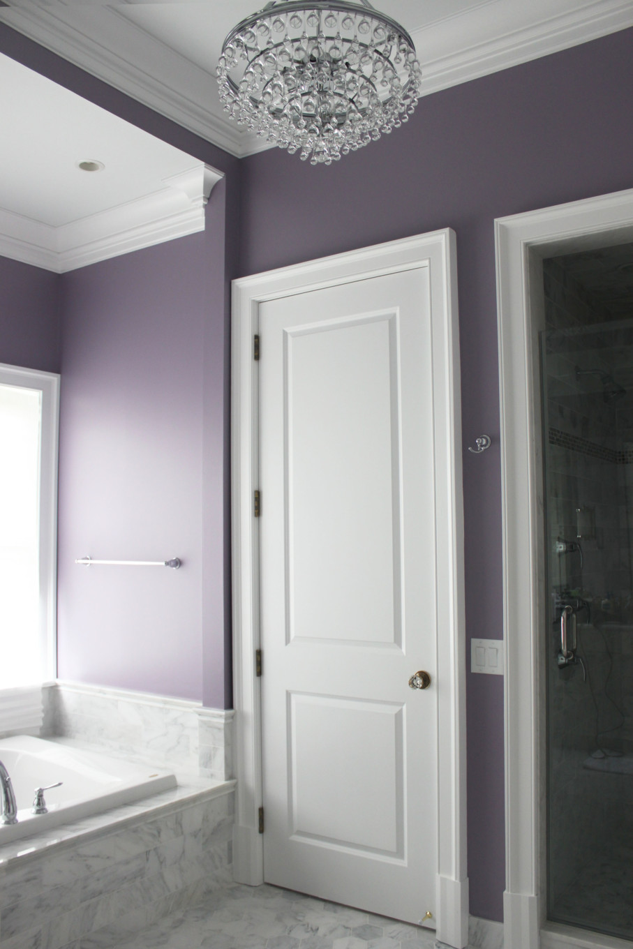 Purple and White Master Bathroom