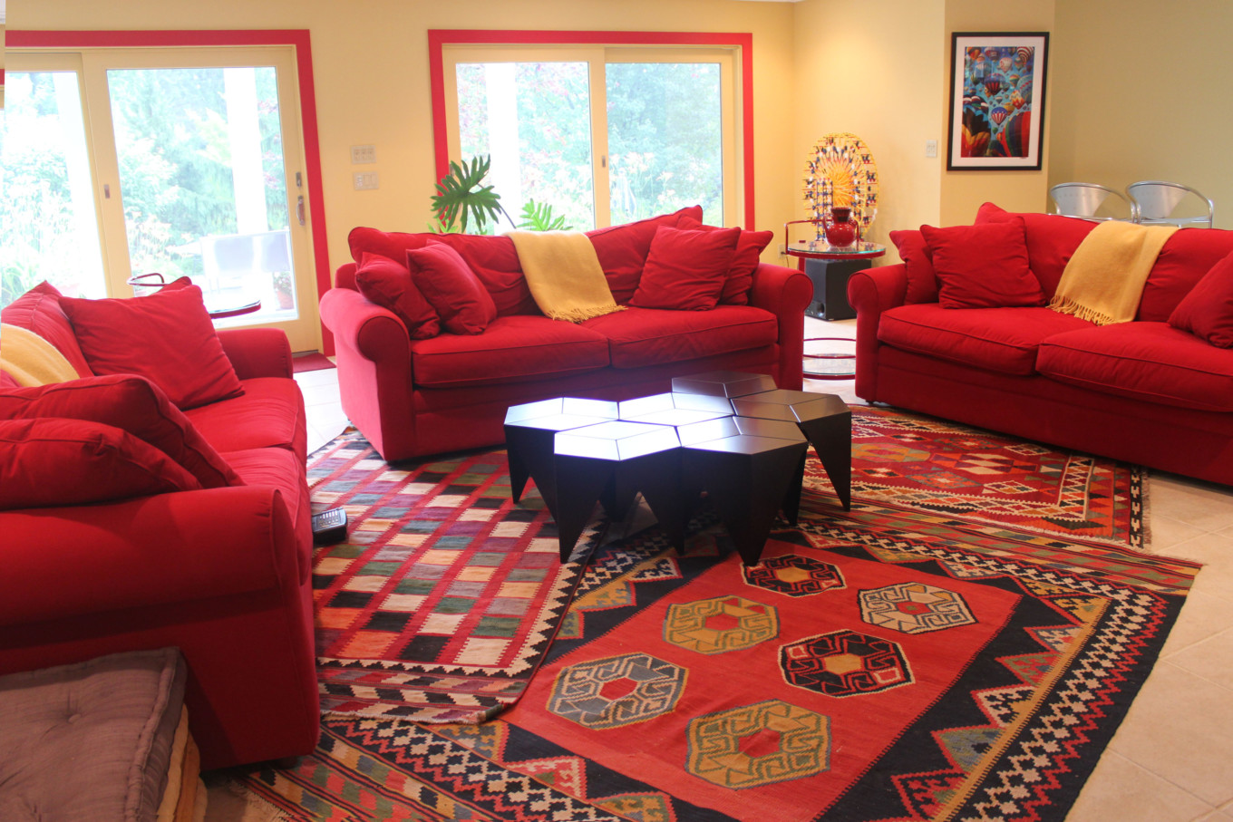 Red Trim and Yellow Walls in Family Room