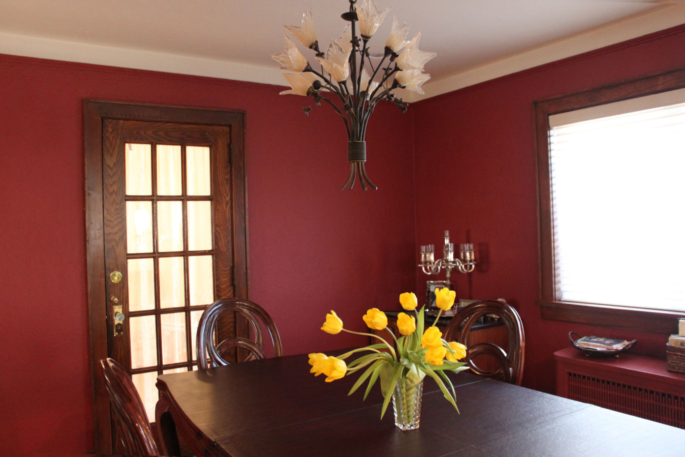 Red Walls in Dining Room