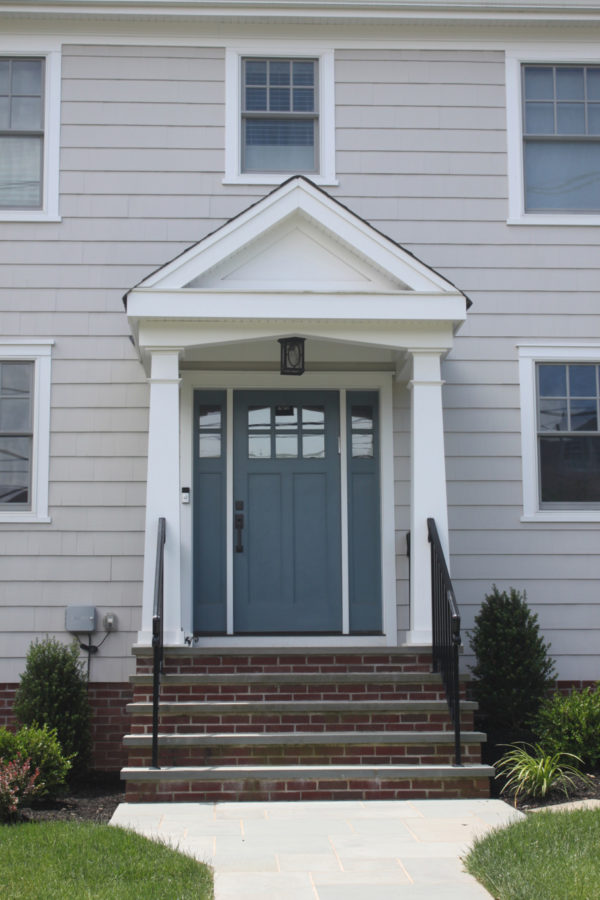 The perfect blue for light gray house.