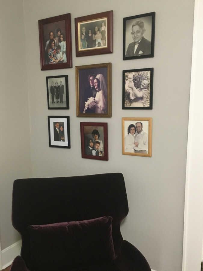 Photo arrangement in bedroom
