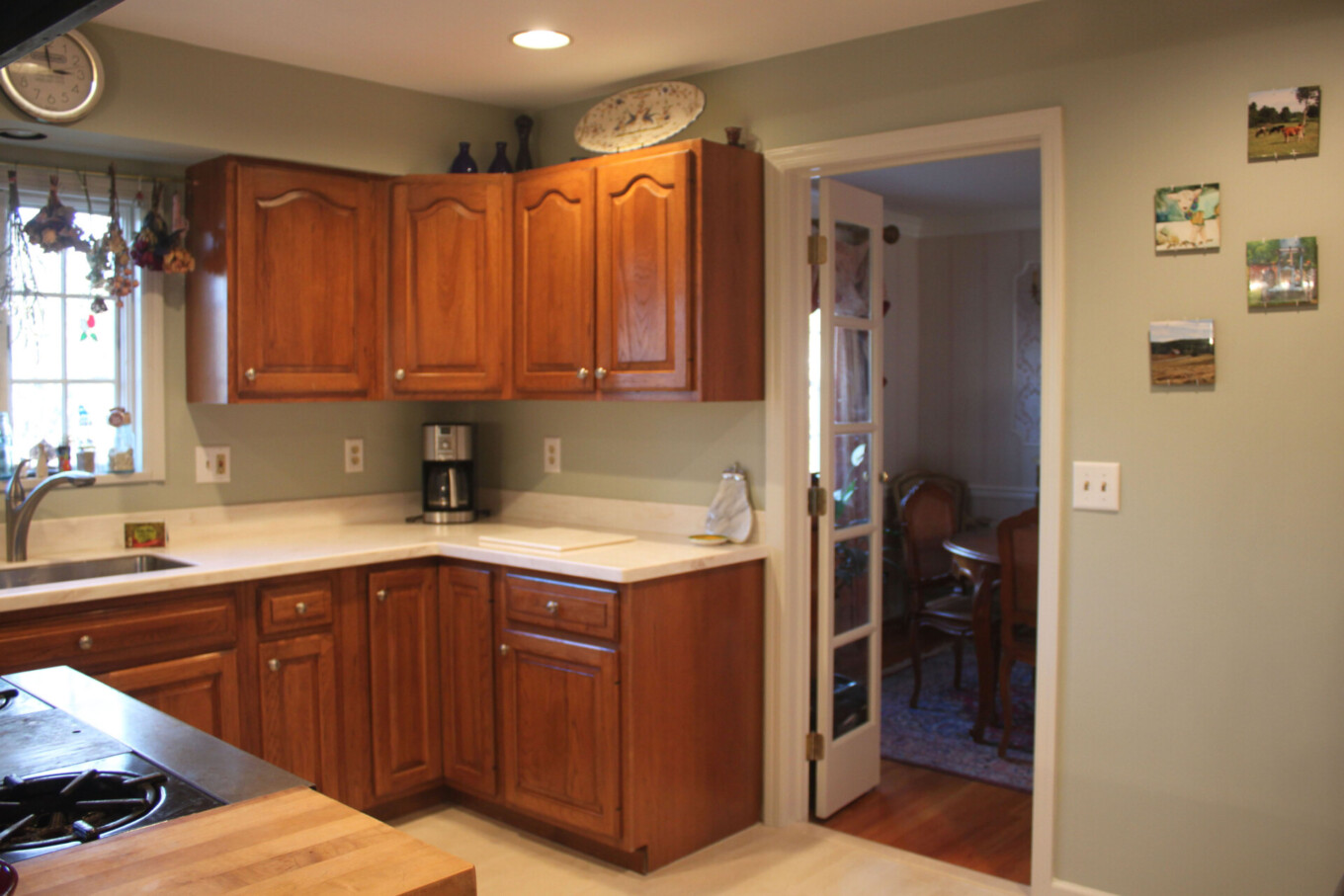 Kitchen painted Gray Green