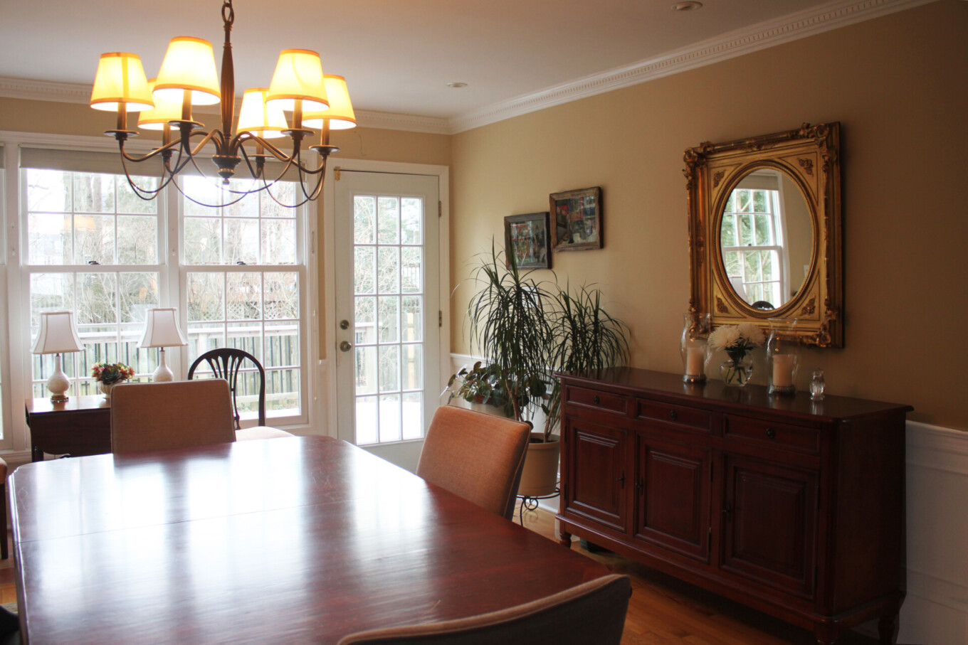 White and Beige Dining Room